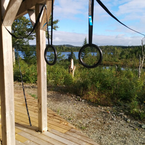 My rings setup on vacation in Canada. I wish I had that view at home...